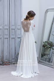 simple elegant white lace illusion long sleeves back beach