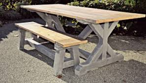 Outdoor Tables And Benches Restoration Hardware Inspired Outdoor Table And Benches