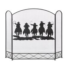 fireplace screen black antique cowboy round up decorative