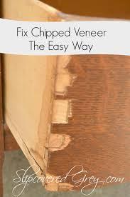 how to wood veneer furniture fix chipped veneer the easy way slipcovered grey