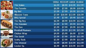 digital menu board 15 items with 4 price levels customizable
