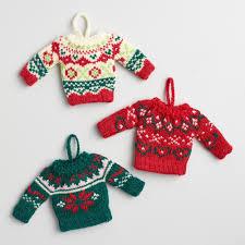 cost plus world market set of 3 mini sweater ornaments obsessed w
