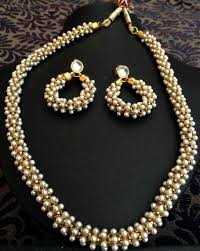 pearls necklace online images Buy beautiful chandni pearls woven in golden metal indian pearl jpg