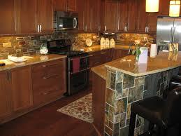 stone backsplash for kitchen dark wood cabinetry with stacked stone backsplash island