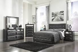 Ashley Bedroom Set With Leather Headboard Ashley Alamadyre Upholstered Panel Bedroom Set In Black