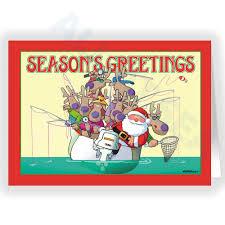 santa fishing card all at sea
