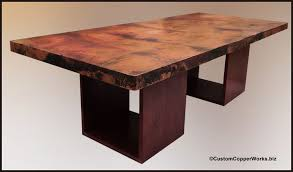 hammered copper dining table rectangular copper dining table wood cube table base 1 7 custom