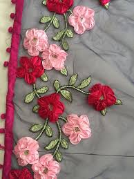 ribbon embroidery flower garden navy blue ribbon work bollywood sarees