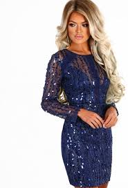 glam life navy sequin long sleeve mini dress pink boutique