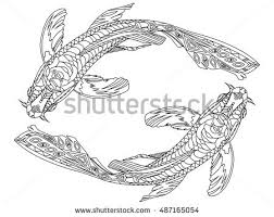 koi carp fish coloring book adults stock vector 487165054