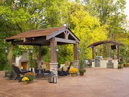 splendid outdoor kitchen idea with fireplace and outdoor canopy
