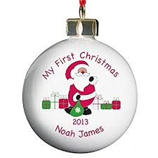 Baby First Christmas Bauble Personalised by Personalised Bauble Baby U0027s First Christmas Amazon Co Uk