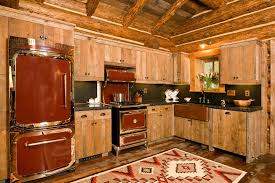 Kitchen With Red Appliances - rustic log cabins kitchen with red appliances contemporary stockpots