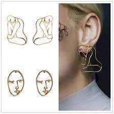 human earrings aliexpress buy metal human earrings gold color stud