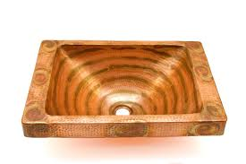 rectangular raised profile bathroom copper sink with 5