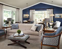 Printed Chairs Living Room by Navy Accent Wall White Trim Light Curtains With Dark Rods Light