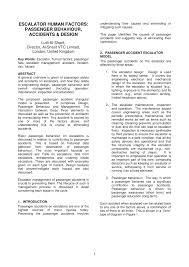 escalator human factors passenger behaviour accidents and design