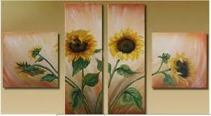 Hand painted Wall Art Abstract Landscape Sunflower Oil Painting