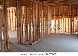 framed building residential home basic electrical stock photo