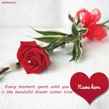 write name on rose love heart profile pics