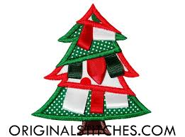 christmas applique ribbon christmas tree machine embroidery and applique designs