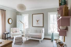 pink and gray nursery with pink wall shelves transitional nursery