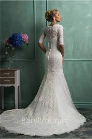 modest mermaid scalloped neck short sleeve vintage lace wedding dress
