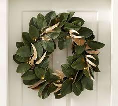 lit magnolia wreath pottery barn