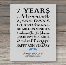 7 year wedding anniversary gift 7 year anniversary gift anniversary gift for spouse