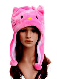 amazon com pink kitty aviator cosplay plush hat toys u0026 games