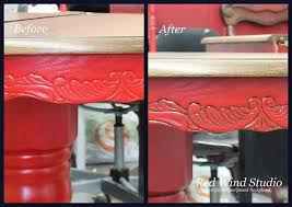 repainted dining room set in bold red hometalk