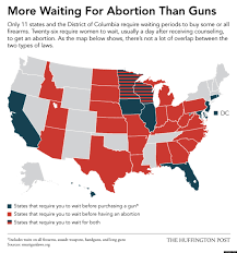 Gun Laws By State Map by Fewer Waiting Periods For Guns Than For Abortions Infographic