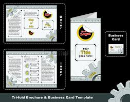 tri fold depliant and business card template stock vector image