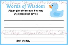 bridal shower words of wisdom baby shower words of wisdom cards baby shower decoration
