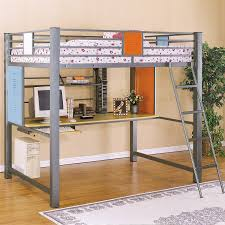 bedroom bunk bed with desk underneath and stairs medium carpet