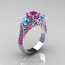 Gps Wedding Ring by Classic 10k White Gold Three Stone Blue Topaz Pink Sapphire