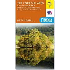 Lake District England Map by Os Explorer Map Ol 7 English Lakes Se Windermere Kendal