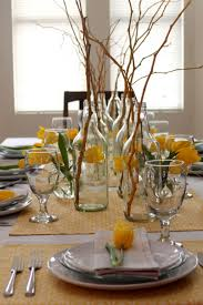 Dining Room Table Vases Decorative Dried Branches Using Glass Bottle Flower Vase Between