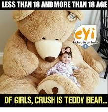Meme Teddy Bear - less than 18 and more than 18 age eyi enakena yarum llaivae of girls
