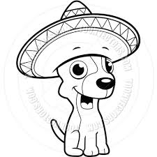 cartoon sombrero chihuahua sombrero black and white line art by cory thoman