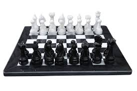 radicaln handmade black and white marble chess set