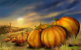 thanksgiving day pumpkins field autumn painting hd