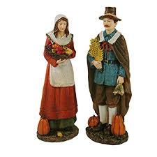 resin pilgrim with fall harvest figurine set of 2 gerson