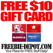 gift card free free ten dollar gift card freebie depot