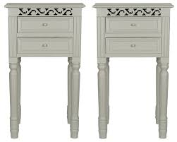 Small White Bedside Tables Set Of Two Pretty French Grey Bedside Tables With Drawers Amazon