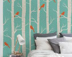 birch tree wallpaper etsy