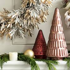 mantel ideas metallic trees jpg