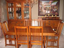 mission style dining room set bassett 9 medium oak dining room set lighted hutch sideboard