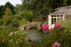 houses beautiful backyard scene pond house pink rose creek wide