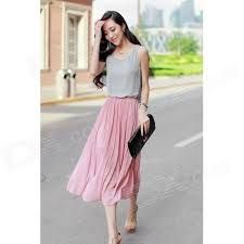 stylish dress stylish chiffon one midi tank dress pink grey m free